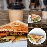 Шаблон сандвича и кофе Стоковые Фото