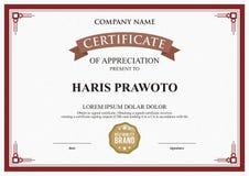 Шаблон сертификата Соответствующий для вашей компании Улучшите вашу видимость Профессиональный и эффективный логотип Editable цве стоковое изображение