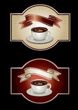 шаблон стикера кофе Стоковые Фотографии RF
