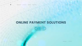 Шаблон страницы посадки с голубой предпосылкой частиц - онлайн решение оплаты, можно использовать для ecommerce, банка и иллюстрация штока