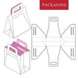 : Шаблон сумки упаковывая для носить иллюстрация вектора