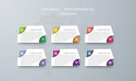 Шаблон с 6 вариантами, вариант Infographic знамени для infographic иллюстрация вектора