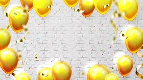 Шаблон с воздушными шарами для вектора приглашения карты иллюстрация штока