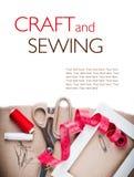 Шаблон с инструментами для шить и handmade Стоковая Фотография RF