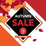 Шаблон с листьями, падение знамени продажи осени выходит для ходя по магазинам продажи Дизайн знамени Плакат, карточка, ярлык, зн иллюстрация вектора