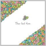 Шаблон творческого Doodle нарисованный вручную с сердцами в угле для Ro Стоковая Фотография