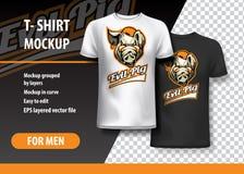 Шаблон футболки, полно editable со злым логотипом команды свиньи Иллюстрация вектора EPS 10 иллюстрация вектора