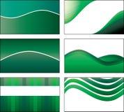 шаблон 6 конструкций визитной карточки зеленый Стоковое Изображение RF