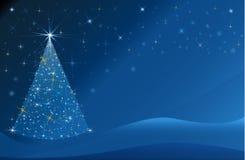 Шаблон bokeh звезд поздравительной открытки праздника дерева рождества голубой сияющий иллюстрация вектора