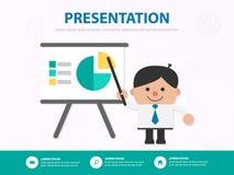 Шаблон de встречи представления шаржа бизнесмена infographic стоковое изображение rf