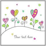 Шаблон Doodle нарисованный вручную с сердцами для романтичного сообщения Стоковое Изображение RF