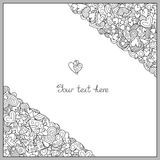 Шаблон Doodle нарисованный вручную с Uncolored сердцами для романтичного я Стоковые Изображения RF