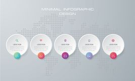 Шаблон Infographic с вектор дизайном 4 вариантами, потоком операций, технологической картой операций, infographics срока и значки бесплатная иллюстрация