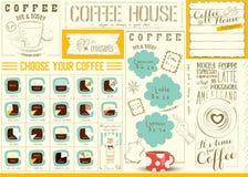 Шаблон Placemat меню кофе Стоковая Фотография RF