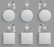 Шаблон Wobbler Супермаркет согнул белые пустые wobblers модель-макет вектора бирок скидки продажи 3d пластиковый иллюстрация вектора