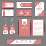 Шаблоны вектора фирменного стиля установили с freehand флористическим логотипом бесплатная иллюстрация
