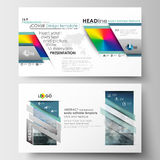 Шаблоны дела в формате HD для представления сползают Легкие editable планы в плоском дизайне Абстрактные треугольники, голубые Стоковая Фотография RF