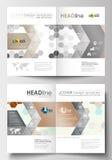 Шаблоны дела для брошюры, кассеты, рогульки, буклета Покройте шаблон дизайна, легкий editable пустой, плоский план в A4 Стоковые Изображения