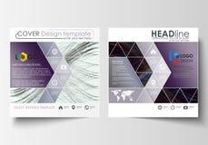 Шаблоны дела для квадратной брошюры, кассеты, рогульки, годового отчета Крышка листовки, плоский план, легкий editable вектор иллюстрация штока