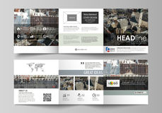 Шаблоны дела для trifold квадратных брошюр дизайна Крышка листовки, абстрактный плоский план, легкий editable вектор Стоковые Изображения RF