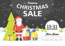 Шаблоны знамени вебсайта праздника продажи Иллюстрации рождества и Нового Года для социальных знамен, плакатов, электронной почты Стоковое Фото