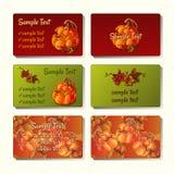 6 шаблоны и карточек с тыквами и ягодой Стоковое Изображение RF