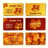 Шаблоны и карточки в стиле осени Стоковое Фото