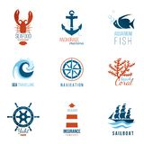 Шаблоны логотипа темы моря Стоковые Изображения