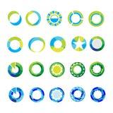 Шаблоны логотипа установили абстрактные знаки и символы круга Стоковые Фото