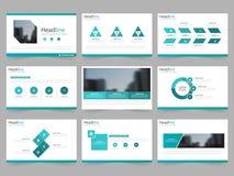Шаблоны представления конспекта голубого зеленого цвета, дизайн шаблона элементов Infographic плоский установили для листовки рог бесплатная иллюстрация