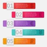 Шаблоны стрелок infographic 5 финансовых вариантов иллюстрация штока