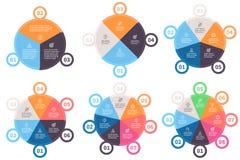Шаблоны Infographic Долевые диограммы с 3 до 8 частями Стоковое Фото