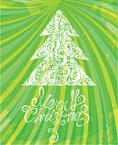 Шаблон белого рождества с swirly орнаментальным tr Стоковая Фотография RF
