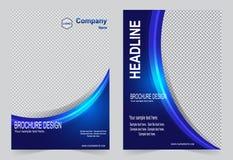 Шаблон брошюры, дизайн рогульки, голубой bac вектора конспекта цвета Стоковое фото RF
