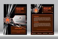 Шаблон брошюры, дизайн рогульки, оранжевый ба вектора конспекта цвета Стоковое фото RF