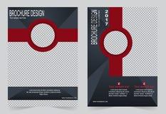 Шаблон брошюры, дизайн рогульки шаблон серый и красный иллюстрация вектора