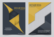 Шаблон брошюры, дизайн рогульки шаблон черный и желтый иллюстрация вектора
