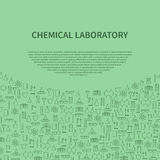 Шаблон брошюры оборудования химической лаборатории также вектор иллюстрации притяжки corel Стоковая Фотография RF