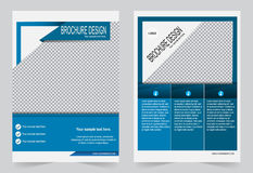 Шаблон брошюры, шаблон сини дизайна рогульки Стоковые Изображения RF