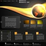 Шаблон вебсайта дела с сияющей иллюстрацией глобуса Стоковая Фотография