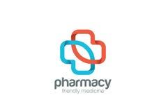 Шаблон вектора дизайна креста зеленого цвета eco логотипа фармации Значок концепции логотипа медицины клиники Стоковые Фотографии RF
