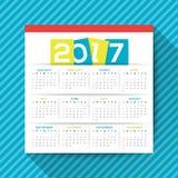 шаблон вектора 2017 календарей Стоковая Фотография RF