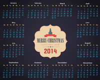 Шаблон вектора календарного года 2014 иллюстрация штока