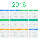 Шаблон вектора календаря 2016 Стоковая Фотография RF