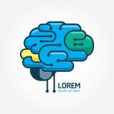 Шаблон вектора мозга логотипа Концепция искажения мозга Аннотация Стоковая Фотография RF