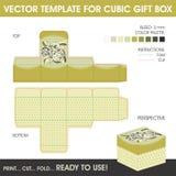 Шаблон вектора для кубической подарочной коробки Стоковое фото RF