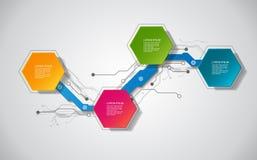 Шаблон вектора infographic с ярлыком бумаги 3D, интегрированными кругами Смогите быть использовано для плана потока операций, диа иллюстрация штока