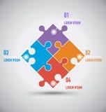 Шаблон вектора Infographics 4 головоломок Стоковые Фотографии RF