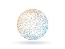Шаблон векторной графики геометрического переходного полигонального глобуса необыкновенный изолированный на белой предпосылке Стоковое Изображение RF