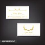 Шаблон визитной карточки установил винтажный ясный дизайн 043 с золотом w Стоковое Изображение RF